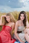 Two beautiful slavonic girls on picnic — Stock Photo