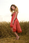 Beautiful slavonic girl pose in wheat field — Stock Photo