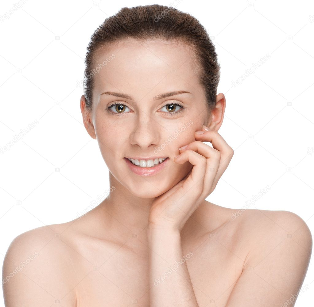 Closeup portrait of young beautiful woman with perfect skin — Stock Photo #8460982
