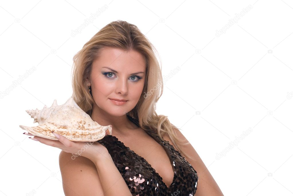 Closeup portrait of beautiful fashion woman with huge shell — Stock Photo #8465645
