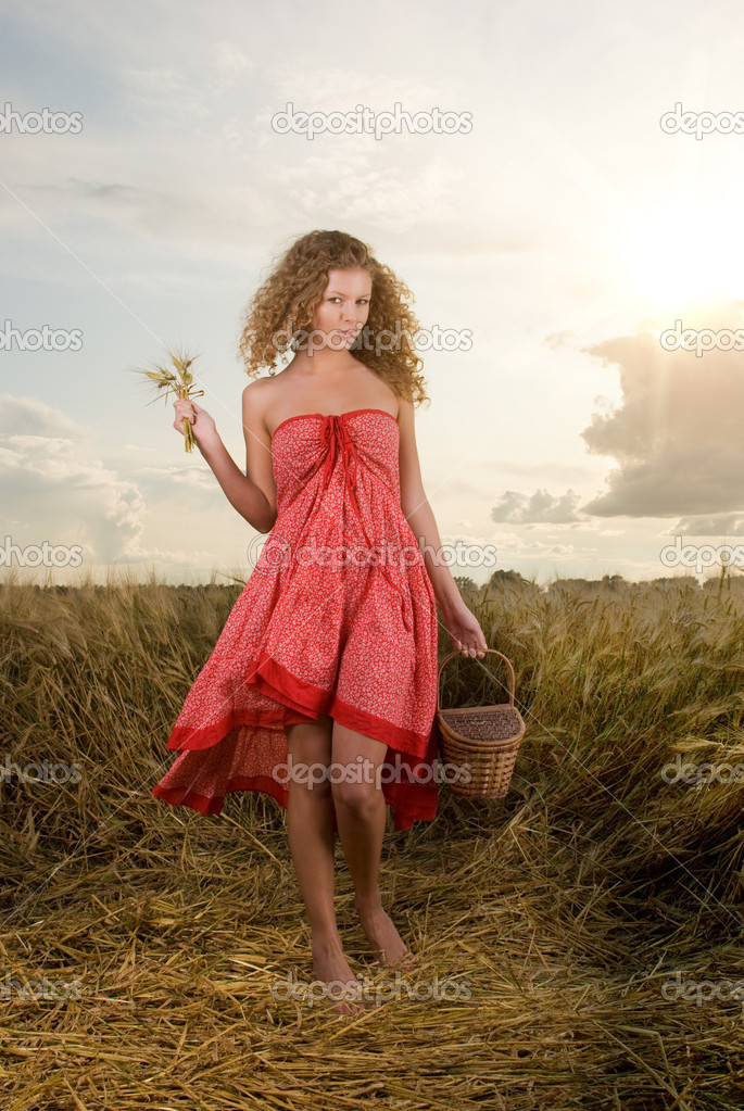 Beautiful slavonic girl pose in wheat field with basket — Stock Photo #8468326