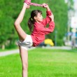 Girl doing stretching exercise. Yoga — Stock Photo