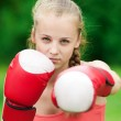 Yyoung boxer woman at green park — Stock Photo #8533390
