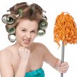 Angry woman in hair rollers is holding swab — Foto Stock
