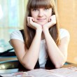 A young woman in a cafe — Stock Photo #8534174