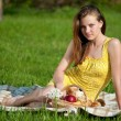 Beautiful young woman on picnic — Stock Photo #8534910
