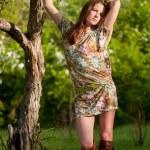 Beautiful young fashion woman posing outdoor — Stock Photo #8535456