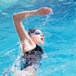 Stock Photo: Swimmer performing crawl stroke