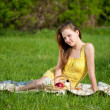 Royalty-Free Stock Photo: Beautiful young woman on picnic