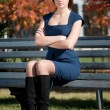 Business woman waiting a meeting at park — Stock Photo