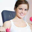 Beautiful sport woman doing exercise with dumbbell weight - Foto Stock