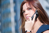 Businesswoman make call by mobile phone. — Stock Photo