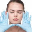 Medical examination face of beautiful woman — Stock Photo