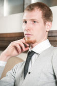 Sure young business man — Stock Photo