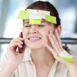 Business woman with stickers — Stock Photo