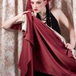 Closeup portrait of fashion woman posing with silck fabric — Stock Photo