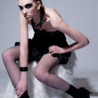 Beautiful fashion model with black make-up - Foto de Stock