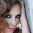 Fashion woman with green make-up at rural location - Foto de Stock