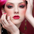 Closeup portrait of fashion girl face with jewel — Stock Photo #8604624