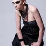 Beautiful fashion model with black make-up — Stock Photo #8604628