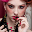 Closeup portrait of fashion girl face with jewel -  