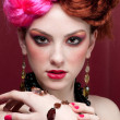 Closeup portrait of fashion girl face with jewel - Foto de Stock  