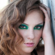 Fashion woman with green make-up at rural location — Stock Photo