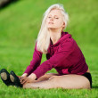 Stock Photo: Beautiful woman doing yoga stretching exercise