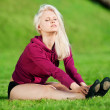 Beautiful woman doing yoga stretching exercise — Foto de Stock