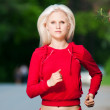 Beautiful woman running in park — Stock Photo #8630658