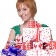 Close up portrait of woman with some gifts — Stok fotoğraf