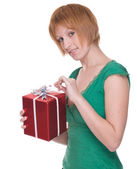 Close up portrait of girl with gift — Stock Photo