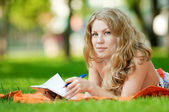 Beautiful young woman study — Stock Photo