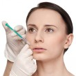 Cosmetic botox injection in the beauty face — Stock Photo
