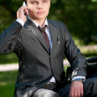 Business man talk by mobile phone. Student — Stock Photo