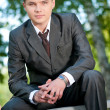 Business man waiting at park. Student — Stock Photo #8650897