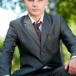 Business man waiting at park. Student — Stock Photo