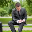 Business man working with papers at park. Student — Stock Photo #8651112