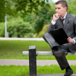 Business man working with papers at park. Student — Stock Photo #8651182