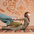 Couple doing yoga. Massage — Stock Photo