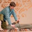 Couple doing yoga. Massage — Foto de Stock