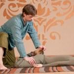 Couple doing yoga. Massage — Stock Photo