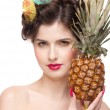 Close up portrait of beauty woman with fruit bodyart and pineapp — Stock Photo #8653716