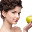 Close up portrait of beauty woman with green apple. — Stock Photo #8653741