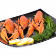 Royalty-Free Stock Photo: Plate of red boiled lobsters