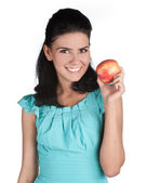 Attractive young girl with fruits — Stock Photo