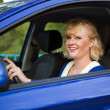 Blonde woman sitting behind the wheel of a car - Stock Photo