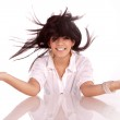 Gay beautiful brunette girl with an unusual hairstyle — Stock Photo #9118958