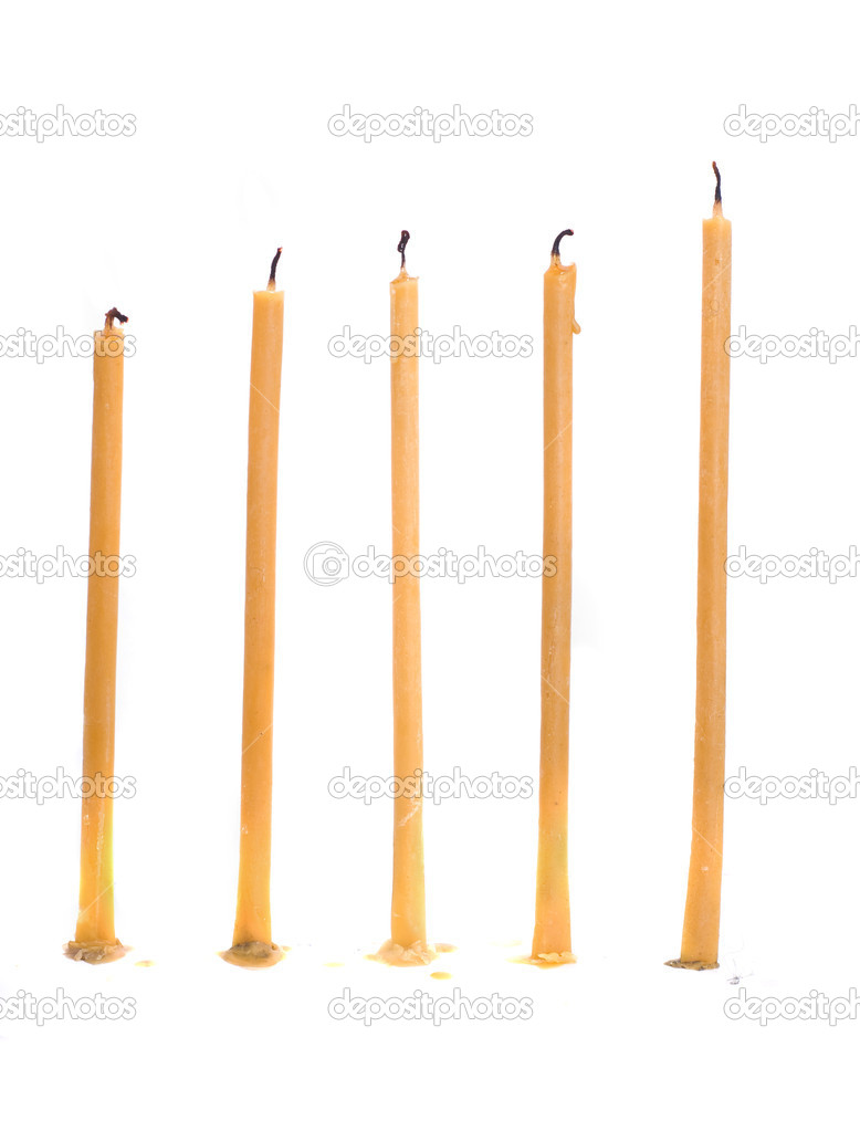 Five candle isolated on white — Stock Photo #9363523