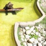 Oso jugando con un tronco en el agua — Stock Photo